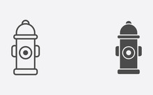 Fire Hydrant Outline And Filled Vector Icon Sign Symbol