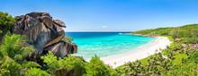 Grand Anse Panorama Auf La Digue, Seychellen