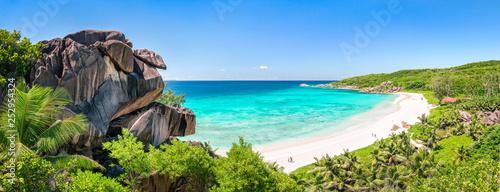 Foto Grand Anse Panorama auf La Digue, Seychellen