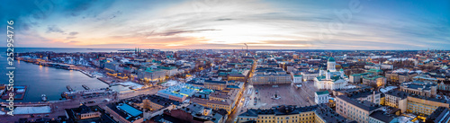 Canvas Print Aerial sunset view of Helsinki in winter time, Finland