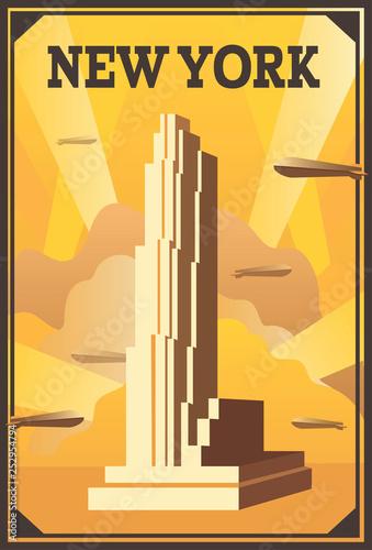 Art Deco Poster New York.Retro Poster In Art Deco Style New York Vertical Cityscape