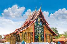 The Sanctuary, Wat Wang Kham Temple, Khao Wong District, Kalasin Province, With The Blue Sky Cloud.The Public Property In Thailand.