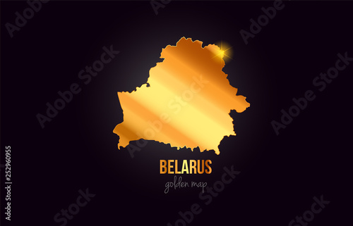 Fotografie, Obraz Belarus country border map in gold golden metal color design