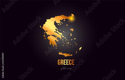 Greece country border map in gold golden metal color design Wallpaper Mural