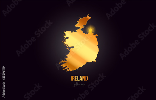 Cuadros en Lienzo Ireland country border map in gold golden metal color design