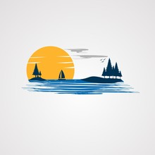 Sunset Beach With Beautiful Flying Birds Logo Vector, Icon, Element, And Template For Company