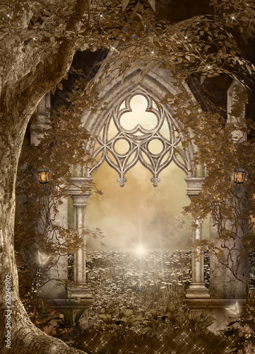 Fantasy doorway to the mystic nature – 3D illustration