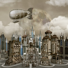 Panoramic View Of A Modern Town With A Flying Airship – 3D Illustration