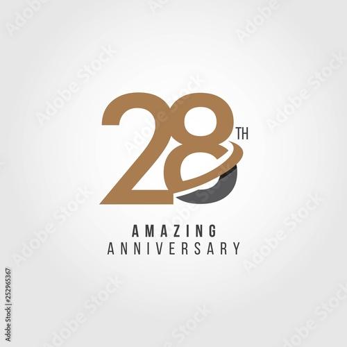 Fotografia, Obraz  28 Year Anniversary Vector Template Design Illustration