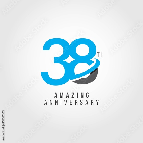 Tela  38 Year Anniversary Vector Template Design Illustration