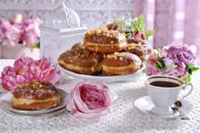 Traditional Polish Donuts And Coffee