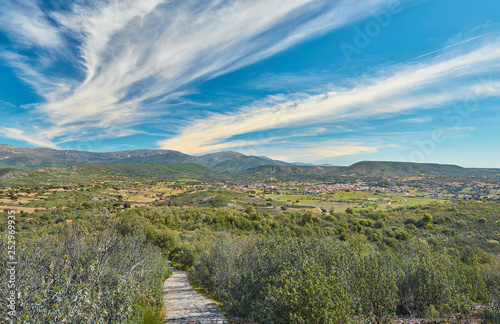 Landscape View of the Village of Navas de Estena in the Cabañeros National Park, Ciudad Real Province, Castilla la Mancha Region, Spain