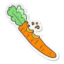 Sticker Of A Cartoon Bitten Carrot