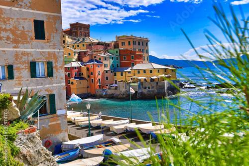 Fotografia  Boccadasse, Italy is a small fishing village in the Genoa (Genova) area
