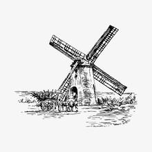 Windmill Vintage Drawing