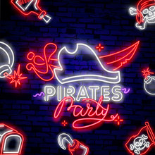 Pirates Party Neon Text Vector. Pitate Hat Neon Icon, Design Template, Modern Trend Design, Night Neon SignboardVintage Pirate Emblem Glowing Neon