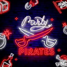 Pirates Party Neon Text Vector...