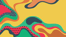 Abstract Background, Colorful Fluid Shapes With Dotted Textures, Warm Summer Tone