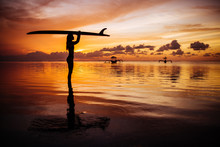 Beautiful Woman In A Diving Suit For Swimming Surfing In The Indian Ocean On The Background Sunset Sky