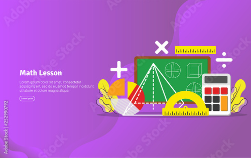 Math Lesson Concept Educational And Scientific Illustration Banner Suitable For Wallpaper Banner Background Card Book Illustration Or Web Landing Page And Use For Marketing Or Promotion Buy This Stock Vector And