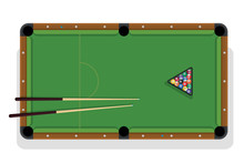 Billiard Table, Pool Stick And Billiard Balls For Game. Pool Table With Triangle, Balls And Cua Top View.