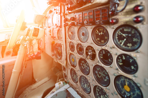 Photo Dashboard of an old airplane