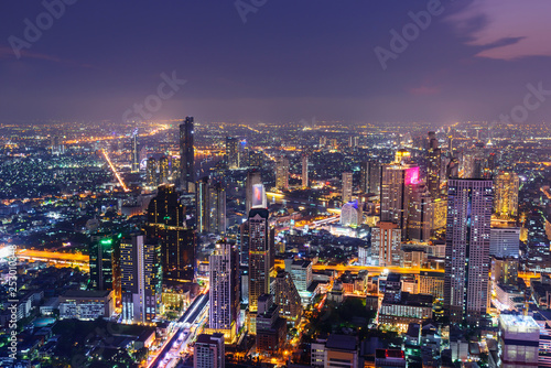 click for Wall Murals price · high view of city in night time with lighting