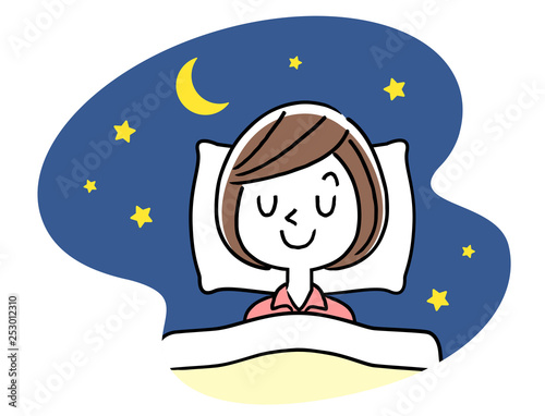 Obraz 睡眠:若い女性 - fototapety do salonu