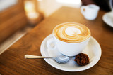 One cup of coffee on the table, latte art