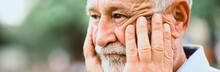 Senior Man Emotion Face Serious ,concern, Sad, Thing, Unhappy.