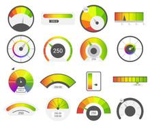 Speedometer Icons. Credit Score Indicators. Speedometer Goods Gauge Rating Meter. Level Indicator, Credit Loan Scoring Manometers Vector Set.
