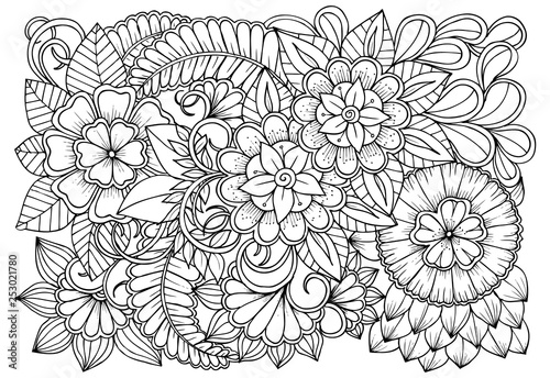 Vector black and white colorin page for colouring book Fototapete