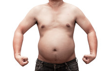 Body  Man Fat Isolated On White Background With Clipping Path