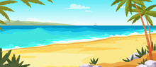 Tropical Island Flat Vector Co...