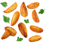Fried Potato Wedges Isolated On White Background. Fast Food.