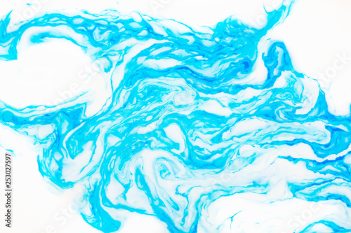 Abstract beautiful marbling with white and blue colors.The Eastern style of Ebru painting on water with acrylic paints swirls marbling.A stylish mix of natural luxury  © Ольга Васильева