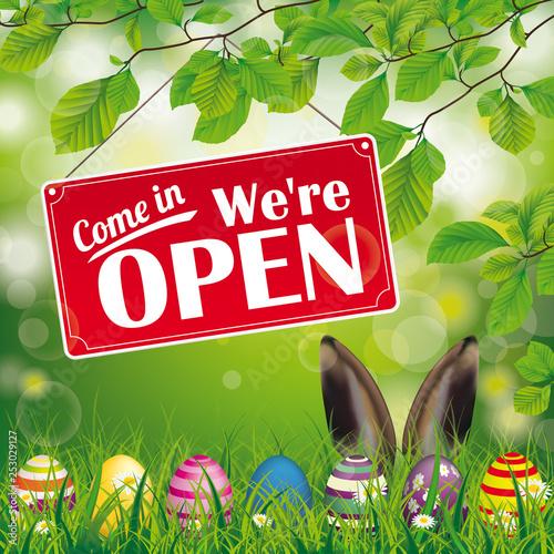 Easter Eggs Beech Twigs Hare Ears Open Billede på lærred