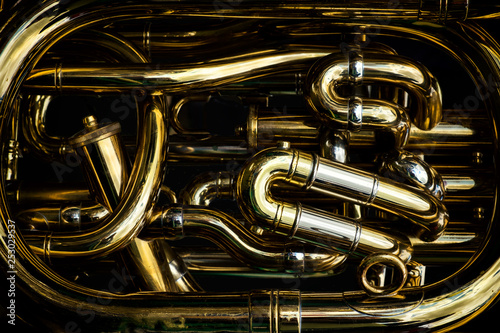 Detail of the brass pipes of a tuba - 253029537