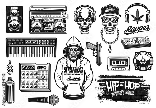 Photo Rap and hip hop music attributes vector objects