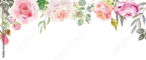 Foto  Handpainted watercolor frame with blooming flowers