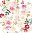 Leinwanddruck Bild - Watercolor floral seamless pattern with golden elements