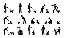 Pet Icon, Man Pictogram With Dog, Cat, Animal Care And Training Illustration
