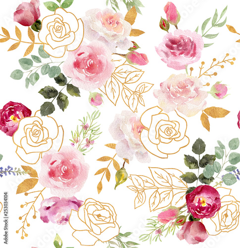 Watercolor floral seamless pattern with golden elements