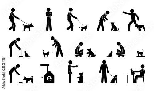 pet icon, man pictogram with dog, cat, animal care and training illustration Canvas Print