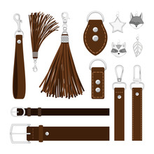Leather Tassels. Vector Leather Belts, Metal Buckles And Carbines, Steel Pendants Isolated On White Background