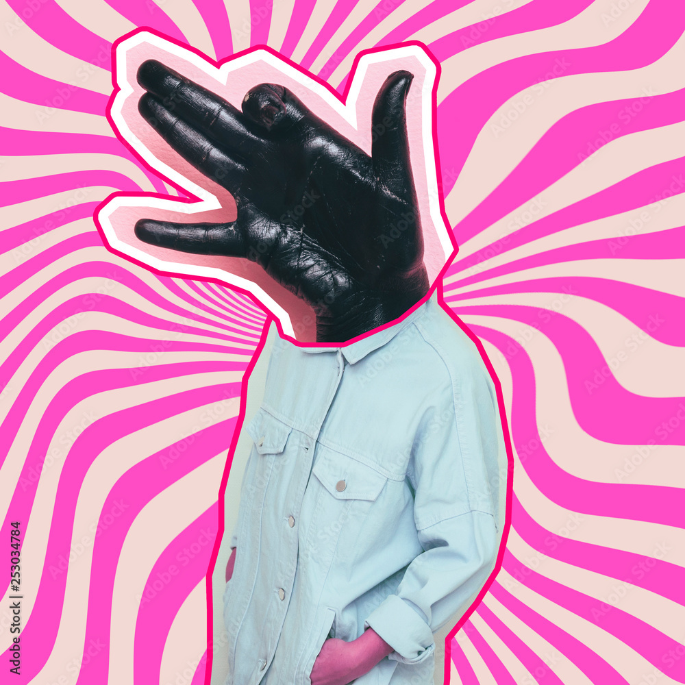 Fototapeta Modern art collage. Female alien model with hand in dog gesture instead head on psychedelic stripes background.