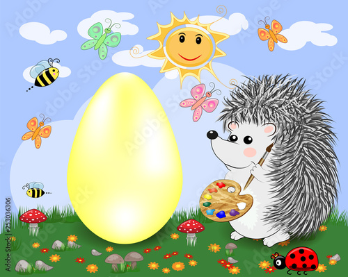 Wall Murals Ranch Easter hedgehog with a brush and a palette paints a huge Easter egg on a glade, the sun, butterflies, spring. Copy space