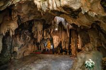 Stalactite Limestone Cave With Buddha Statue