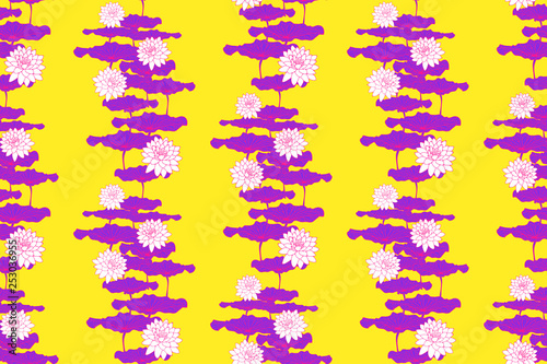 Floral Wallpaper Pattern Lotus Flowers Bright Yellow Purple