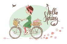 Hello Spring. Vector Illustration, Young Woman On A Bicycle.